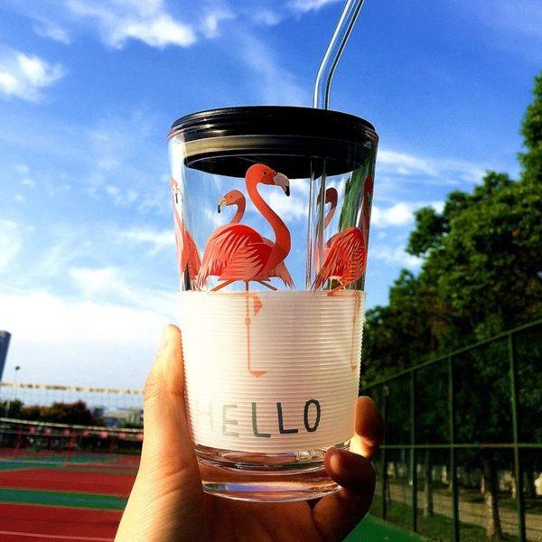 透明簡約玻璃杯子水杯加厚茶杯耐熱大容量辦公茶杯帶蓋勺吸管1
