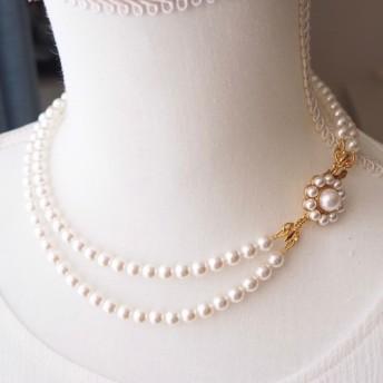 留め金がポイント、スワロフスキークリスタルパールの2連ネックレス、ショートタイプ