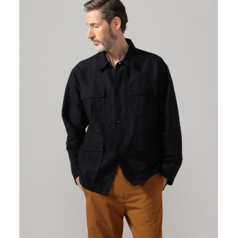 【50%OFF】 トゥモローランド リネンポリエステルカルゼ サファリシャツジャケット メンズ 69ネイビー XS 【TOMORROWLAND】 【セール開催中】