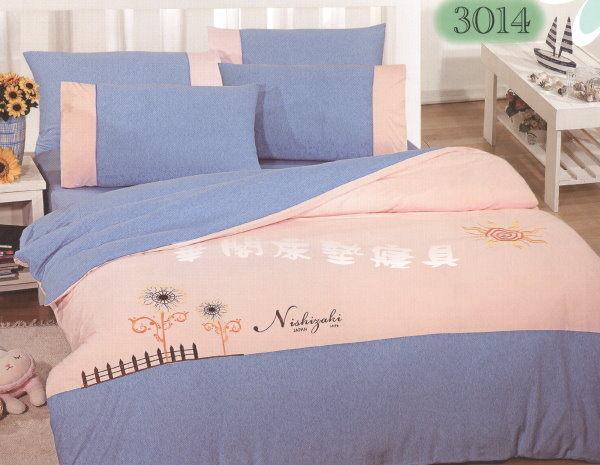 *睡美人寢具*無印良品風格─針織布材質3014.四件式雙人加大床包+薄被套 6*6.2 MIT 圖案是立體的