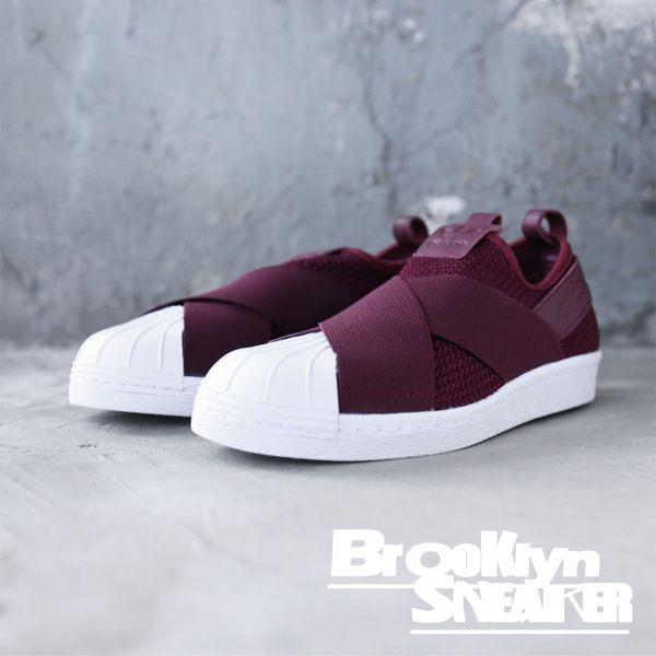 huge selection of 991e3 fd87a Adidas Originals Superstar Slip On 酒紅 繃帶鞋 休閒鞋 女 (布魯克林) 2018/12月 B37371