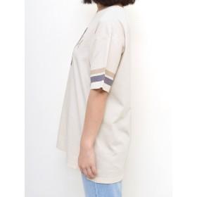 Tシャツ - HEART MARKET 39プリント配色チュニックレディース トップス カジュアル 体型カバー 半袖 夏 コットン ロゴ プリント ベージュ ネイビー