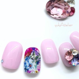 Pink botanical flower ネイルチップ #007h
