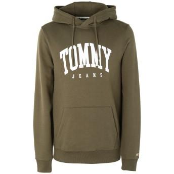 《期間限定セール開催中!》TOMMY JEANS メンズ スウェットシャツ グリーン S コットン 100% TJM ESSENTIAL TOMMY