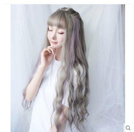 小鄧子假髮女長捲髮水波紋大波浪發套空氣劉海長發甜美可愛中長捲髮