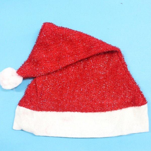 聖誕帽 高級絲條聖誕帽(絨布面金蔥絲條)/一袋12個入{定50}