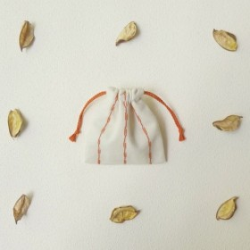 刺し子ストライプのミニ巾着