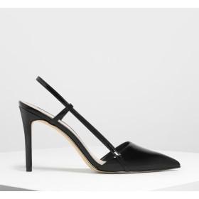 ポインテッドトゥ スリングバックヒール / Pointed Toe Slingback Heels (Black)