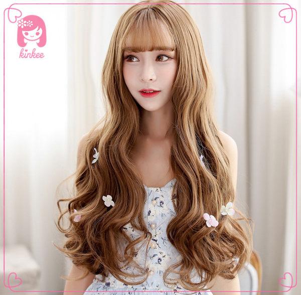 *╮Kinkee假髮╭*韓系高仿真 韓劇女主角 大頭皮 空氣瀏海 波浪 長捲髮 假髮【F5055】