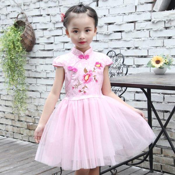 兒童旗袍秋冬女童唐裝短袖小孩女孩公主紗裙童裝禮服