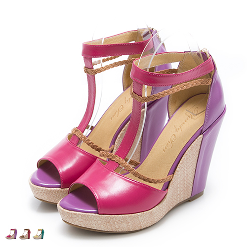 楔型鞋.MIT 真皮渡假女伶厚底露趾魚口鞋
