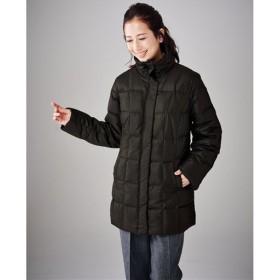 【レディース】 ラビットファー付きダウンコート - セシール ■カラー:ブラック ■サイズ:3L,M
