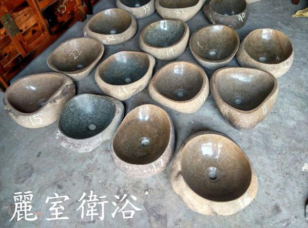 【麗室衛浴】 藝術 復古 天然鵝卵石 石頭盆 洗手盆 長度40-48CM