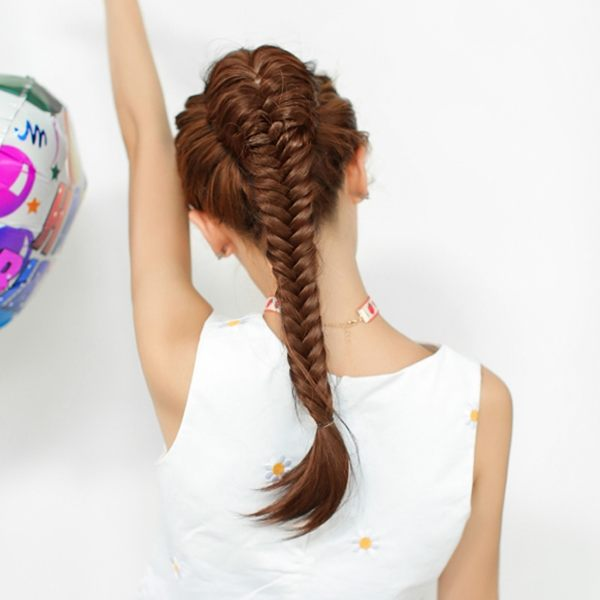 手工魚骨編麻花辮子馬尾假髪女假馬尾拉繩扣式髪包時尚長馬尾髪片