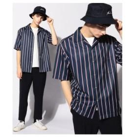 (Men's Bigi/メンズビギ)レジメンタルストライプオープンカラーシャツ/開襟シャツ/メンズ レッド
