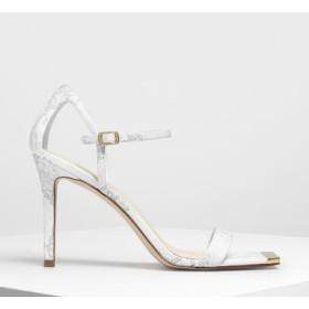 スクエアトゥー ゴールドディテールサンダル / Square Toe Gold Detail Sandals (White)