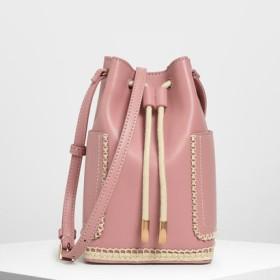エンブロイドスティッチ バケツバッグ / Embroided Stitch Bucket Bag (Blus
