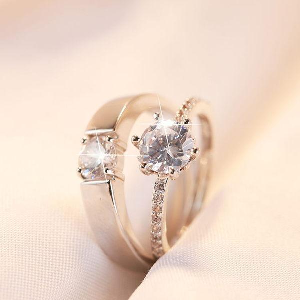 婚禮道具婚戒情侶戒指結婚慶用品對戒仿真假鉆戒一對開口男女首飾