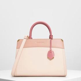 メタルエッジ クラシックハンドバッグ / Metal-edged Classic Handbag (Light Pink)