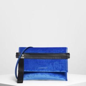 ナイロンストラップ ジッパー クラッチ / Nylon Strap Zipper Clutch (Blue)