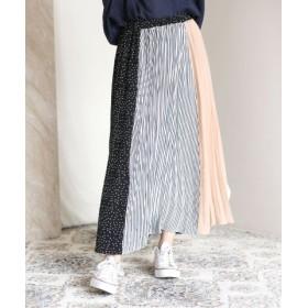 (Bou Jeloud/ブージュルード)◆切り替えデザインが華やか◆ヴィンテージブロッキングプリーツスカート/レディース ネイビー