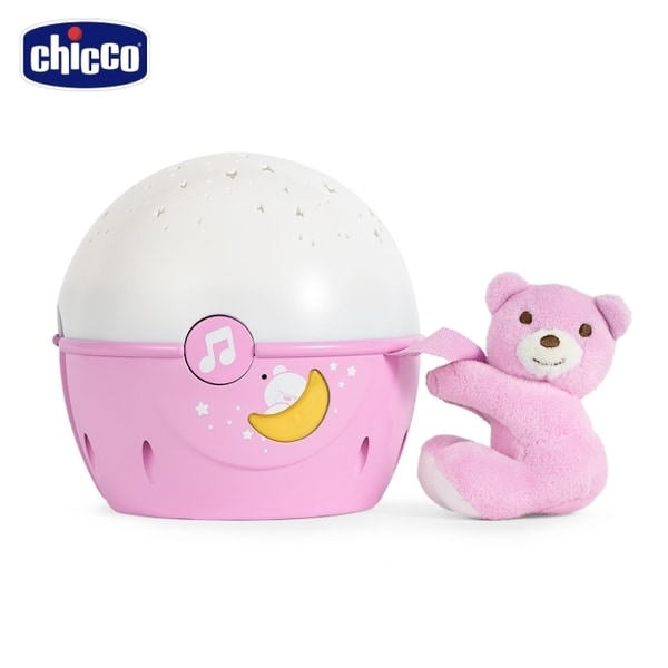 chicco-Next 2 Me專用星星投射晚安熊-粉紅
