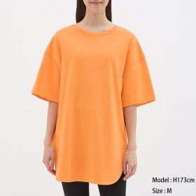 (GU)ヘビーウェイトオーバーサイズT(5分袖) ORANGE S
