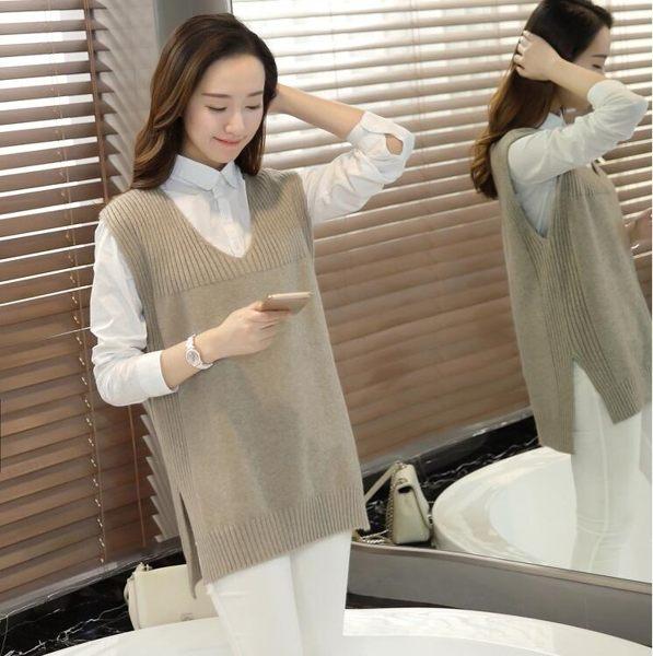 針織背心 女春秋毛衣針織馬甲寬鬆V領針織衫