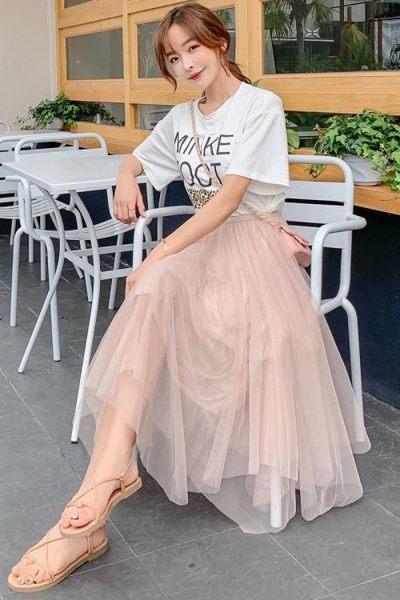 小個子半身裙女春夏不規則紗裙2019新款網紗ins超火半身裙中長款 潮人女鞋