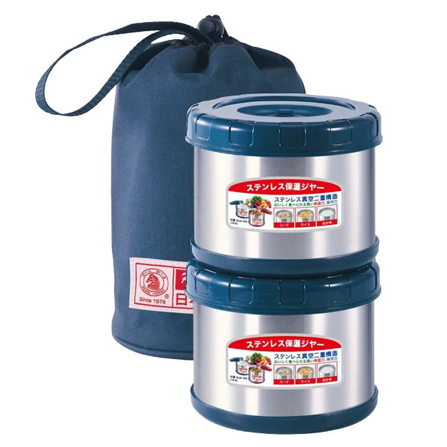 日本寶馬不鏽鋼真空保溫便當盒_0.5Lx2(附提袋) SHW-GL-500藍