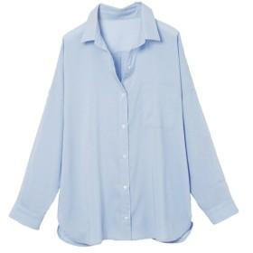 ラナン 襟抜きオーバーサイズシャツブラウス レディース ブルー 3L 【Ranan】
