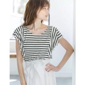 リエディ Re: EDIT [リエディ]極とろみショルダーフリルTシャツトップス/カットソー・Tシャツ (ホワイト×ブラック)