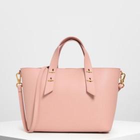 メタルスタッズディテール トップハンドルバッグ / Metal Stud Detailing Top Handle Bag (Pink)