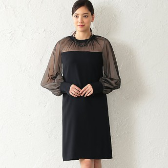 <EPOCA/エポカ> バックサテンジョーゼット ドレス(M5J09130__) アオ【三越・伊勢丹/公式】