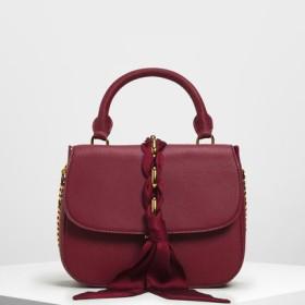 【再入荷】ブレードリボン トップハンドルバッグ / Braided Ribbon Top Handle Bag (Prune)