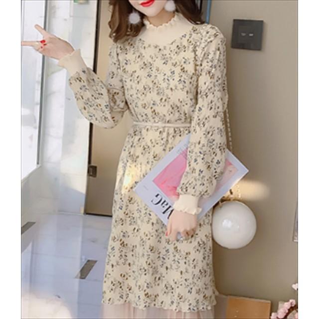 花柄ワンピース - Rutta 花柄チュールワンピース 春 シースルー 韓国