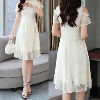 春 夏 ドレスワンピース 白ドレス 半袖 膝丈 レース 刺繍 肩だし 透け感 KR-5-047
