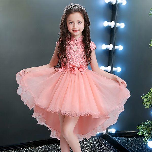 現貨公主裙女童兒童婚紗夏季蓬蓬裙小孩夏裝鋼琴演出服花童禮服女拖尾 洋裝/連身裙