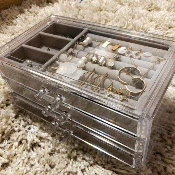 精美禮品透明塑料桌面首飾盒手錶收納盒耳環耳釘發卡耳夾小飾品YTL·皇者榮耀3C旗艦店