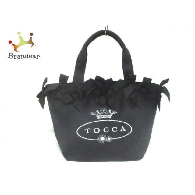 トッカ TOCCA トートバッグ 黒 リボン コットン   スペシャル特価 20190914