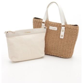52%OFF LA BAGAGERIE (ラバガジェリー) バッグインバッグ付きペーパーかごバッグSサイズ キャメル