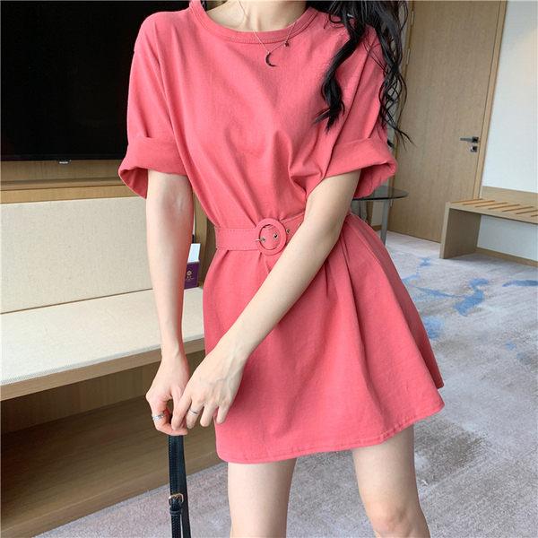 【GZ F1】韓版素面純色收腰顯瘦短袖連身裙洋裝 2色
