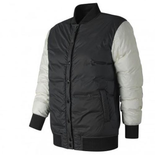 New Balance 女裝 外套 休閒 247 棒球外套 羽絨 膨脹係數800 黑 白【運動世界】WJ83513BM