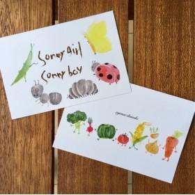 おやさいと昆虫のポストカード 【2枚セット】
