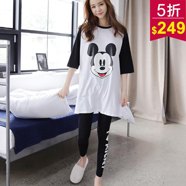 韓版熱銷款長袖撞色迪士尼系列兩件套舒適睡衣 vina shop 【現】2PC1010