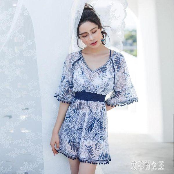 夏季新款韓版保守遮肚分體三件套泳衣女性感溫泉罩衫女士泳裝xy3897【艾菲爾女王】