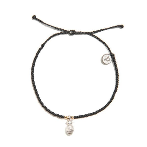 PuraVida美國手工SILVER 3D PINEAPPLE BLACK 銀色鳳梨 黑色小彩珠系列 手環
