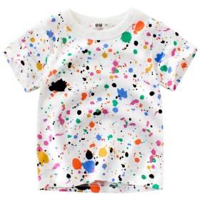 Tシャツ - PlusNao Tシャツ カットソー ラウンドネック 丸襟 丸首 半袖 クルーネック 子供用 キッズ ベビー ペンキ インク プリント 遊び着 通学通園 カジュアル