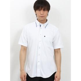 ポロシャツ - TAKA-Q MEN TAKA-Q/mens: Biz エンボスチェック マイターボタンダウン半袖カットシャツ/ビズポロ/クールビズ