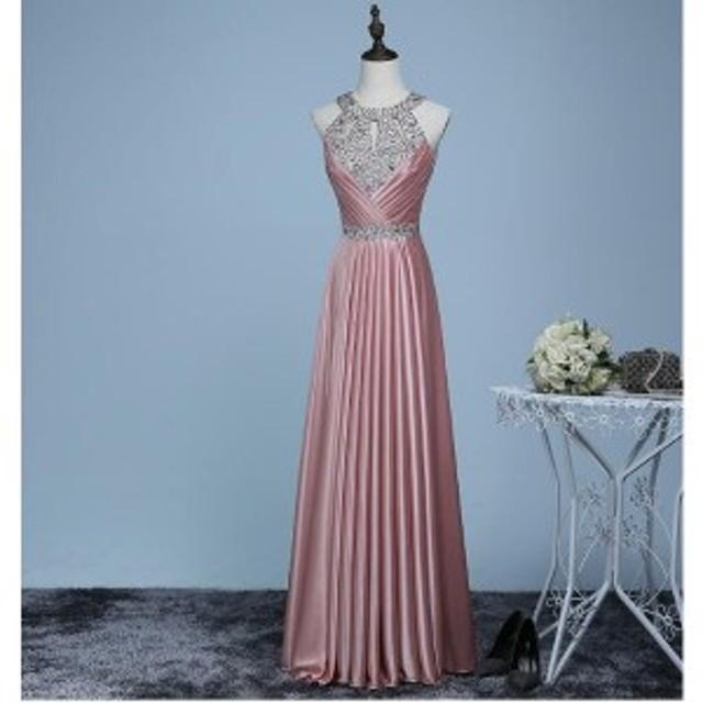 パーティードレス 二次会ドレス お花嫁ドレス レース ロングドレス ウエディングドレス キラキラ  エンパイア